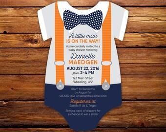 Bow tie Baby Shower Invitations, Little Man Suspenders invitation, bodysuit die cut Invite, Bowtie Invite, gentleman, printed with envelopes
