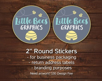 """Packaging stickers, Round Business stickers, Stickers with your logo, 2"""" round stickers for business, Branding stickers, Sheets of 20"""