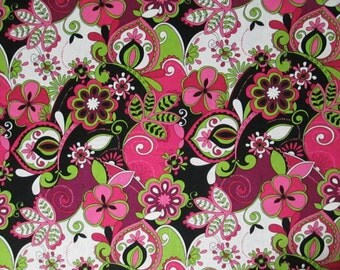 Lime Green, Pinks, Black, and White Jacqueline Floral Surgical Scrub Top / X Small - XX Large