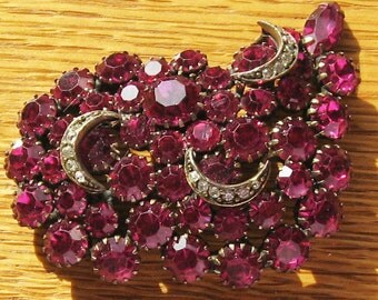 Beautiful Deep Raspberry  Color Rhinestone Brooch
