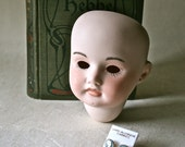 Painted Porcelain Doll Head with Pierced Ears and Cameo Earrings for Doll Making