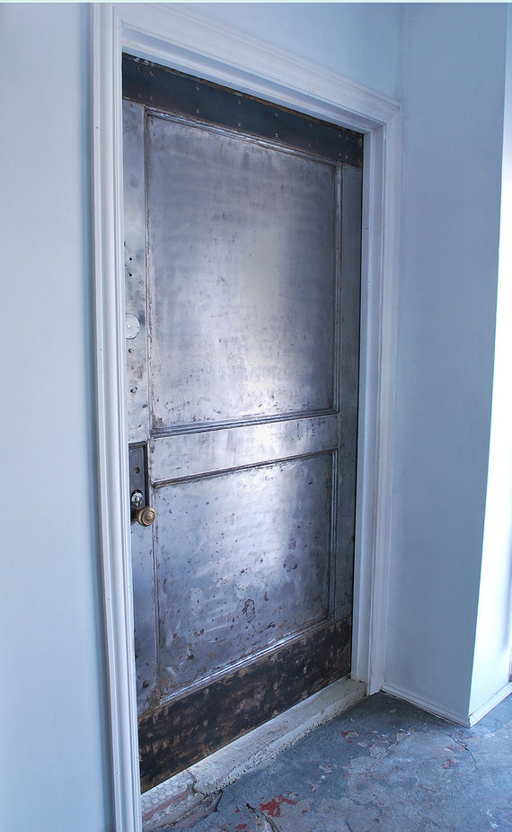 Two panel steel fire door industrial security