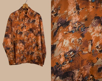 Vintage 1970's Still Life Fruit Bowl and Vase Button Down Men's Shirt Size Large in Rust Tones Retro/Hip/Mod