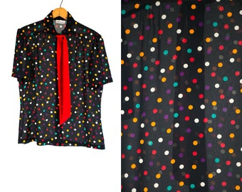 Vintage 1980's Sheer Polka Dot Print Blouse by Jamboree New York Women's Medium