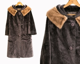 Vintage 1960's Grey Mink Fur Swing Coat Retro/Mod Winter Coat High Fashion Women's