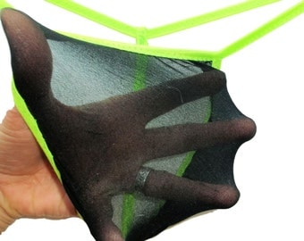 Men's G String Thong Super Stretchy Stocking Exotic Dancer BLACK LIGHT Neon Pantyhose Underwear