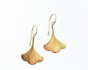 AMAL*  Boho Brass Gingko Drop Earring