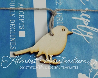 60 to 100 Wooden Bird Decorations for Watercolor or Spring Invitations - DIY Wedding Invitations - Invitation Decorations - Embellishments