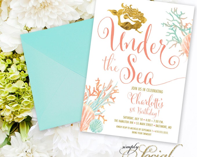 Under the Sea Mermaid Birthday Party Invitation - Boho Swimming Party Invitation Coral Faux Gold Foil Beach Invitation Watercolor