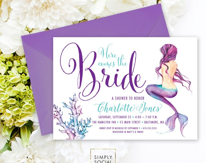 Under the Sea Mermaid Bridal Shower Invitation - Here Comes the Bride Boho Watercolor Beach Invitation Purple and Aqua Watercolor