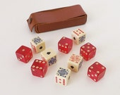 Vintage Poker Dice and Red Dice with Pips in Leather Case, Lucite Dice Travel Set, Dice Games