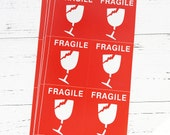 Large Fragile Stickers for Etsy Orders or Christmas Gift Packages (domestic or international use)