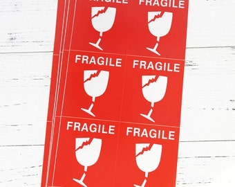 60 ct. Large Fragile Stickers for Etsy Orders or Christmas Gift Packages (domestic or international use)