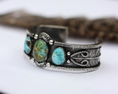 Triple Turquoise Cuff. Natural Turquoise Bracelet. Southwestern Cuff.