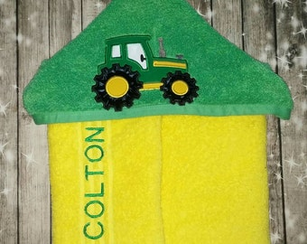 Custom Tractor Hooded Towel