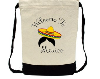Canvas Backpack - Personalized Backpack - Bachelorette Party - Destination Wedding Favor Mexico-Sombrero- Beach Bag - Personalized FREE
