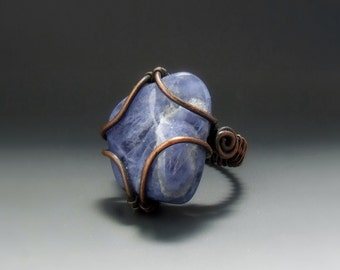 Blue sodalite ring, blue stone ring, rustic copper jewelry, healing stone ring size 6