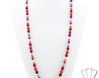 Trendy Knotted Multi Colored Beaded Necklace