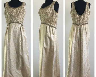 HALF OFF Vintage 1950s 1960s Gold Beaded Sleeveless Formal Gown Emma Domb L (L)