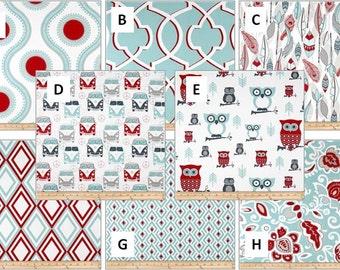 Baby Boy Baby Girl Crib Bedding Set..Crib Bumper, Crib Skirt Fitted Sheet Blanket Aqua Red Owls