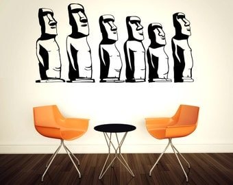 Easter Island statue wall decals, Moai monolithic ancient statue decor