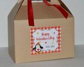 Personalized Valentine favor box / Valentines Penguin gift box/ Valentine exchange box