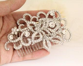 Wedding headpiece,Crystal Art Deco Bridal Hair Comb,Filigree Wedding Comb,Vintage Wedding Hair Accessories,Pearl and Rhinestone Hair Piece