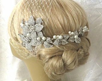 Birdcage Veil  and a Bridal Hair Comb (2 Items)  bridal veil Headpieces Bridal Comb Swarovski Pearls Wedding comb bridal veil headpieces