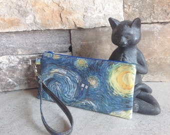 Doctor Who Tardis and Van Gogh inspired zipper pouch.