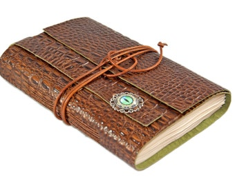 Brown Alligator Embossed Leather Journal - Leather Journal - Tea Stained Journal - Travel Journal - Wedding Journal - Eye Cameo -