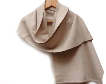 Wrap Long Scarf, Beige wool scarves for women, merino wool shawl, blanket scarf wrap