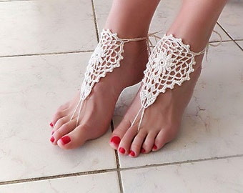 Barefoot sandals, Barefoot, Barefoot sandal, Cream knit sandal, nude shoes, Fashion Accessory, sexy, yoga, anklet, Beach Wedding Party.