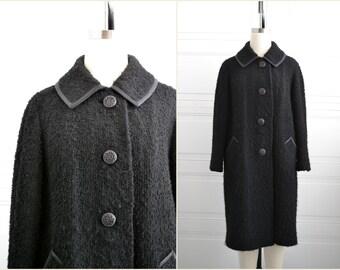 1960s Forstmann Black Wool Boucle Coat