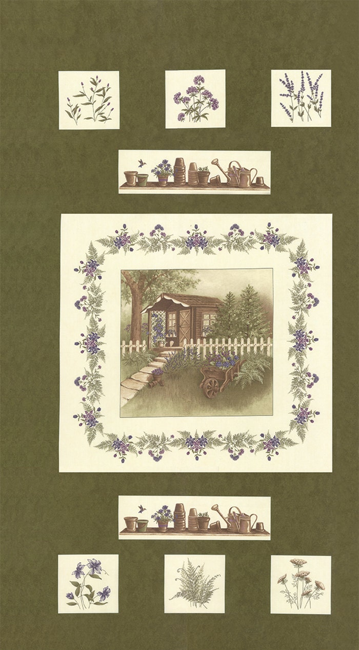 Moda Fabric The Potting Shed By Holly Taylor Panel Dark