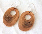 ovals - cherry and sterling silver earrings - natural wood earrings