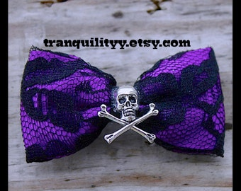 Hair Bow,  Purple Satin Hair Bow , Purple & Black Lace Hair  Bows , Goth, Scene,  Lolita , Victorian,Handmade By: Tranquilityy