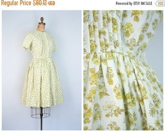 SALE / 50s yellow floral & butterfly print day dress - soft cotton shirtwaist dress / Bobbie Brooks - vintage 50s summer dress / lemon yello
