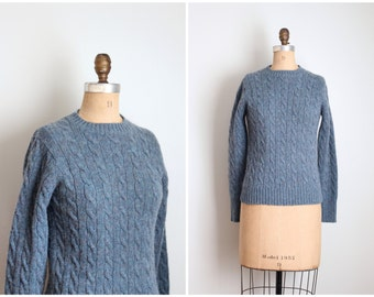 vintage steel blue shetland sweater - cable knit sweater / Eagle's Eye sweater - ladies 1980s preppy wool sweater / gray blue wool sweater