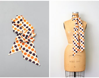 "vintage mod 1960s . 70s polka dot silk scarf - 5"" x 61"" long sash  / Polkadot - pumpkin orange & black dot print / 1960s- ladies accessories"