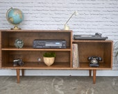 Custom Record Player / Media cabinet in Cherry - Teak Stain - Mid Century Modern Inspired