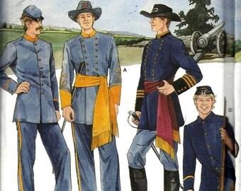 Simplicity 7274 Civil War North & South Military Soldier Uniform Costume Patterns Adult Reenactment Mens Size XS-XL