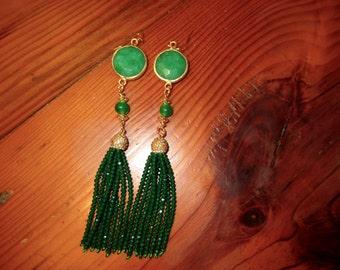 "Boho Glam: 5 "" Long Genuine GREEN JADE Bezel Set Pierced Earrings w/22K Gold Setting, Gold Micro Pave Crystal Cap, Ab Green Crystal TASSELS"