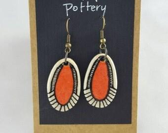 Orange painted earrings