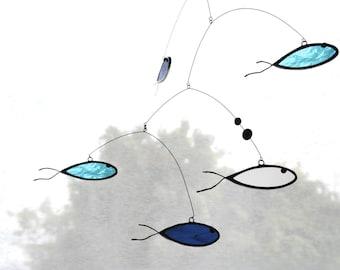 Suncatcher,Stained glass suncatcher,Art mobile,Fish suncatcher,Baby mobile,Fish mobile,Nursery mobile,Kids room decor,En Bleu et Verre