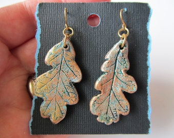 White Oak Earrings Real Leaf Impression in Clay in Copper Gold and Patina Colors on Hypoallergenic Gold Plated Steel Hooks