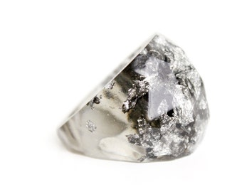 eco resin multifaceted translucent grey ring with metallic silver flakes