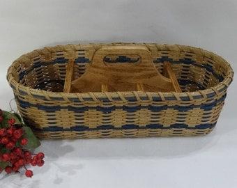 Silverware-Paper Plate Basket / Divided Carrier Picnic Basket/ Organizer Basket/Handwoven Basket