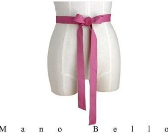 Bow Belt - Pink Leather Bow Belt - Wedding Dress Sash -Leather Ribbon - Bow Belt - Bridesmaid sash - Bump Belt  24 - 29 waist   in stock
