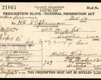 Original Rare 1920 Stephenson Prohibition Whiskey Prescription Doctor Willis Jones Antique Medical Bar Sedalia MO Missouri Pharmacy History