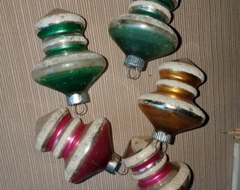 Five (5) Vintage Mid-Century Glass Top Shaped Christmas Ornaments